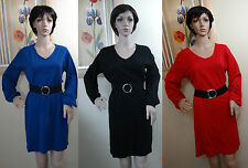 NWT NY COLLECTION black,red,blue long sleeve belted sweater dress, PL,PXL,M,PM