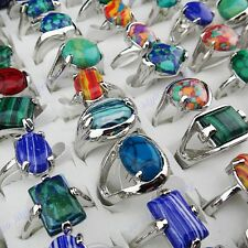 35pcs Mix Malachite Stones  Women Mens Silver P Rings Wholesale Vintage Jewelry