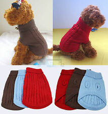 BROWN CUTE KNITTED DOG JUMPER SWEATER PET CLOTHES FOR SMALL DOGS S M L