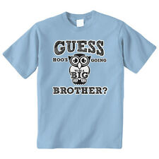 Guess Hoos Going To Be A Big Brother Kids Youth T-Shirt Tee Owl Announcement