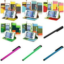 Color Hybrid Leather Wallet Flip Stand Cover Case+Clip Stylus For iPhone 4 4S