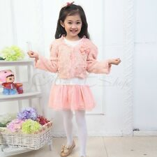 Girl Outfit Jacket Tutu Pearl Flower Top Dress Toddler Party Pageant Clothes Set
