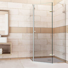 VIGO Reversible Frameless Neo-Angle 3/8-Inch Clear Shower Enclosure