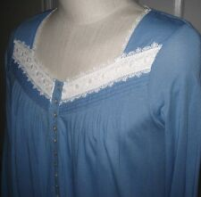 MED LG $68 Eileen West Blue Long Slv Cotton Blend Short Mid-Calf Night Gown