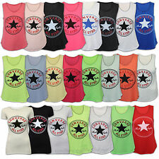 Ladies Vest Womens Top T Shirt Converse All Star Print Sleeveless Casual Summer