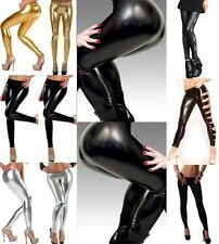 Black/Gold/Silver Wetlook Gothic Leggings Fashion Metallic Tights Pants @Y1011bk
