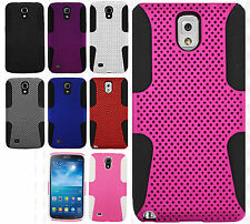 For Samsung Galaxy Mega 6.3 MESH Hybrid Silicone Rubber Skin Case Phone Cover