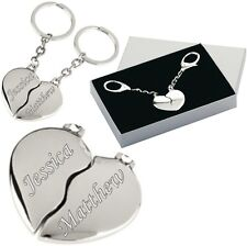 Personalised Valentines Joining Heart Keyring Romantic Gift Engraved Free