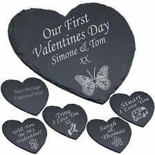 Personalised Heart Shaped Slate Cheese Board Valentine Gift