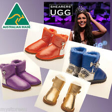 HAND-MADE Australia Shearers UGG Crystal Button Mini Glitter Sheepskin Boots