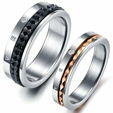Stainless Steel Love Crystal Mens Women Lover Couple Wedding Ring Set