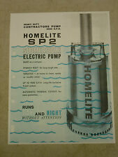 HOMELITE PUMP SALES BROCHURE SPEC SHEET