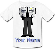 POLICE BODY PERSONALISED CHILDS T-SHIRT -GREAT KIDS FANCY DRESS GIFT & NAMED TOO