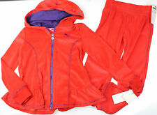 PUMA NWT SZ 4 Red Velour Hooded Tracksuit Jog Jacket Pant Warmup Set $52
