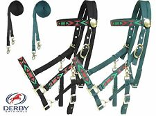 Derby Padded Nylon Horse Aztec Overlay Halter Bridle Combo with Reins