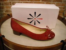 Isaac Mizrahi Kenny Red Suede & Patent Cap Toe Bow Pumps NEW