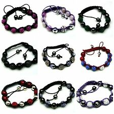 1 Shamballa Gemstone Bracelet Adjustable Jewellery Rhinestone MANY STYLES ML