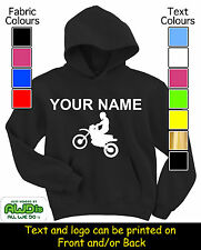 PERSONALISED MOTOCROSS MX BIKE HOODY / HOODIE'S - GREAT GIFT FOR A CHILD & NAMED