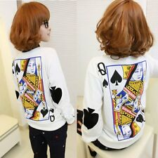 Spade Queen Print  Long Sleeve T Shirt White Sweater  Poker Round Neck Blouse