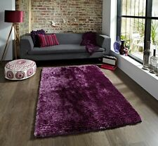 Easy Clean Quality Hand Tufted Mat High Shine Vibrant Silky Soft Rich Purple Rug