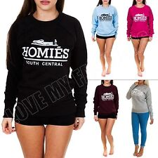 Womens Homies Print Fleece Sweatshirt Top Jumper Size S M L XL 8 12