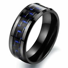 Tungsten Black & Blue Colour Carbon Fiber Mens Wedding Ring Size 6 - 10 R579