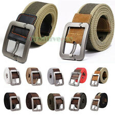 Unisex Stainless Steel Smooth Buckle Sports Canvas Web Military Waist Strap Belt