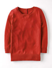 Boden Women's Brand New Button Back Jumper Geranium Orange Cotton Cashmere Blend