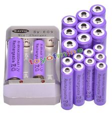 10x AA 3000mAh +10x AAA 1800mAh Rechargeable 1.2V Ni-MH Pruple Battery +Charger