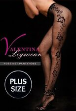 PLUS & REGULAR One Size Floral Rose Lace Fish Net Pantyhose Tight Black 71001