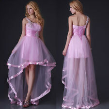 Pink High-Low Wedding Bridesmaid Prom One Shoulder Dresses Grace Karin JS Stock