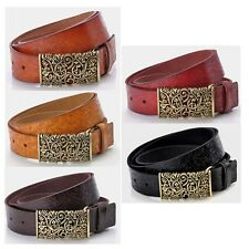 Fashion Women Lady Cow Leather Belt With Hollow Out Buckle Print Flower Fit Most