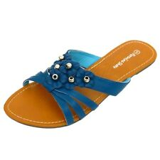 LADIES BLUE SLIP-ON FLAT SANDAL FLIP-FLOP SUMMER SHOE LARGE SIZES 9-13 EUR 43-47