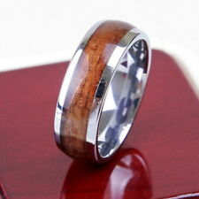Tungsten Silver Wood Inlay 8MM Silver Polish Mens Ring Wedding Band All Size M36