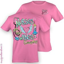 NEW Hot Gift Simply Southern Funny Nurses Wings Nurse Girlie Bright T Shirt