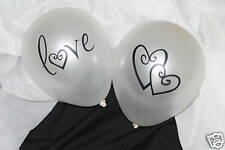 12 Heart Love Just Married Wedding Reception Balloons