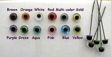 12 PAIR 9mm to 14mm Glass Eyes on Wire Sparkle Colors teddy bears, Ooaks SRG-222