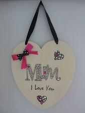 Mum Gift - Heart Plaque - Love Heart Sign - Mum I Love You Mothers Day/Birthday