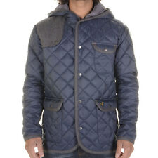 New Mens Designer Voi Jeans Majesty Quilted Hood Jacket in Dressers Blue