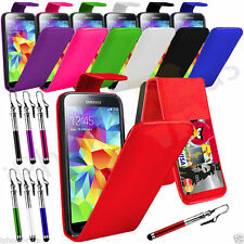 7 Colour Leather Flip Mobile Phone Case For Samsung Galaxy S5 I9600 + Retrac Pen