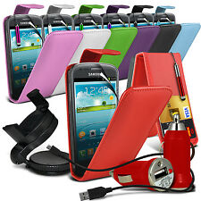 Leather Flip Card Slot Case 6in1 Car Accessory Pack For Samsung Galaxy S3 Mini