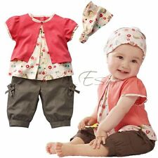 3PCs Baby Girls Infant Child Top Shirt +Pants +Headband Outfit Set Clothes 6-24M