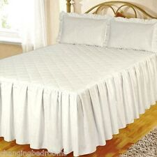 WHITE  FITTED EGYPTIAN COTTON QUILTED BEDSPREAD PILLOWSHAM DOUBLE KING SUPERKING