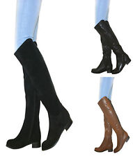 WOMENS OVER THE KNEE HIGH RIDING LONG BOOT BLOCK LOW HEEL ZIP SHOE ZIP WINTER