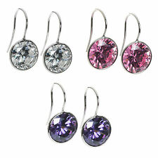 Sterling Silver Round Cz Crystal French Hook Earwire Dangle Earring