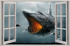 Huge 3D Window Fantasy Big Fish Submarine View Wall Stickers Mural Film Decal