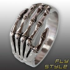 BONE HAND STAINLESS STEEL RING gothic skeleton skull death hand silver biker emo