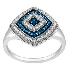 De Couer Silver 1/4ct TDW Blue/ White Diamond Statement Cocktail Ring (H-I, I2)