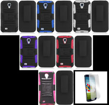 Samsung Galaxy S4 Phone Cover Case with Holster BELT CLIP & SCREEN PROTECTOR