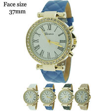 Geneva Ladies Round Quilted CZ Leather Strap Watch 37mm USA Seller